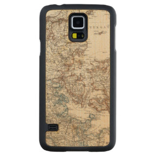 Denmark Atlas Map with 5 inset maps Carved Maple Galaxy S5 Slim Case