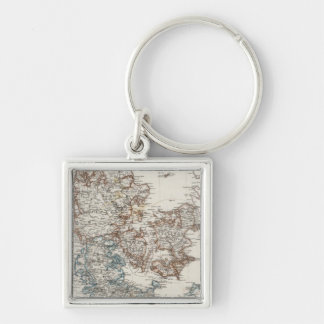 Denmark Atlas Map with 5 inset maps Keychain