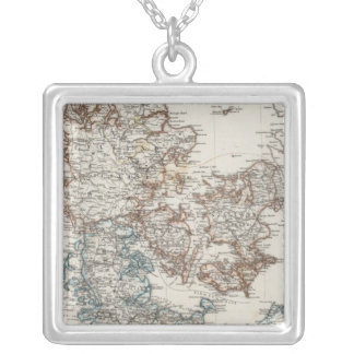 Denmark Atlas Map with 5 inset maps Square Pendant Necklace