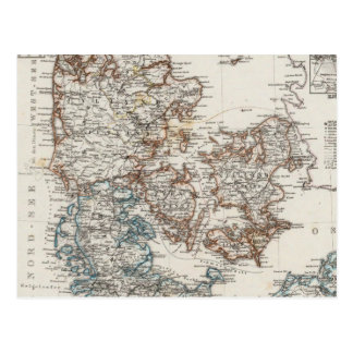 Denmark Atlas Map with 5 inset maps Postcard