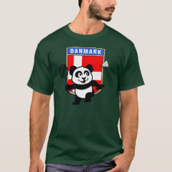 Men's Basic Dark T-Shirt with Danish Badminton Panda design