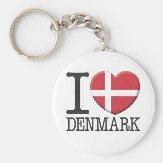 Denmark Basic Round Button Keychain