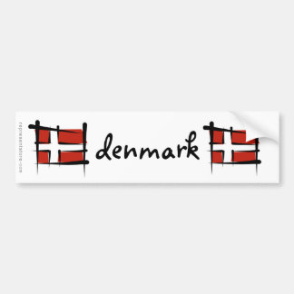 Denmark Brush Flag Bumper Sticker