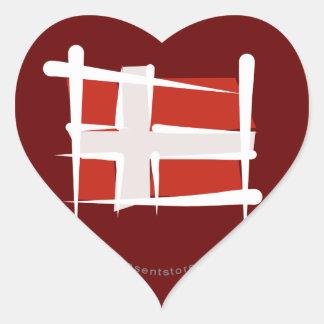 Denmark Brush Flag Heart Sticker