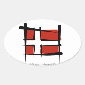 Denmark Brush Flag Oval Sticker