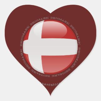 Denmark Bubble Flag Heart Sticker
