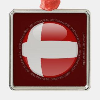Denmark Bubble Flag Metal Ornament