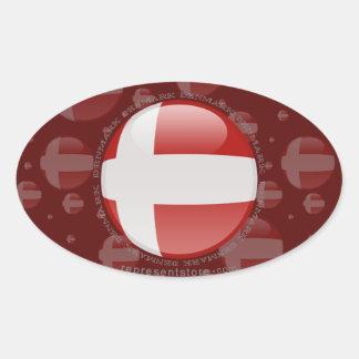 Denmark Bubble Flag Oval Sticker