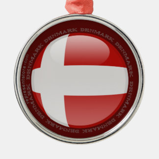 Denmark Bubble Flag Round Metal Christmas Ornament
