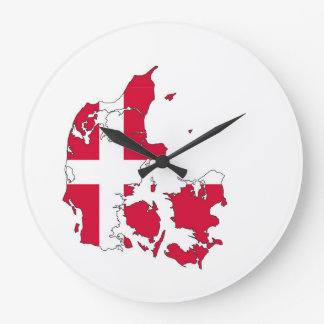denmark country flag map shape danish large clock