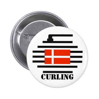 Denmark Curling Pinback Button