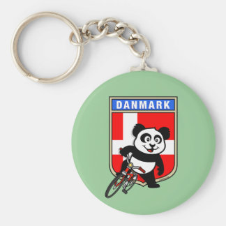 Denmark Cycling Panda Basic Round Button Keychain