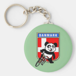 Basic Button Keychain with Danish Cycling Panda design