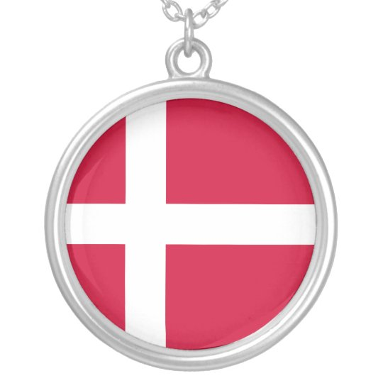 Denmark – Danish National Flag Silver Plated Necklace