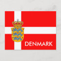 Denmark Flag & Coat of Arms Postcard!