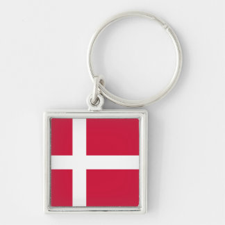 Denmark Flag DK Silver-Colored Square Keychain