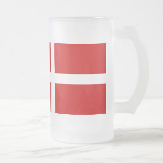 Denmark Flag Frosted Glass Beer Mug
