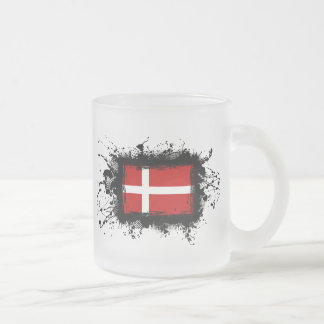 Denmark Flag Frosted Glass Coffee Mug
