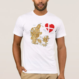 Denmark Flag Heart and Map T-Shirt