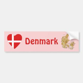Denmark Flag Heart + Map Bumper Sticker