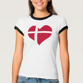 Denmark Flag Heart T-Shirt