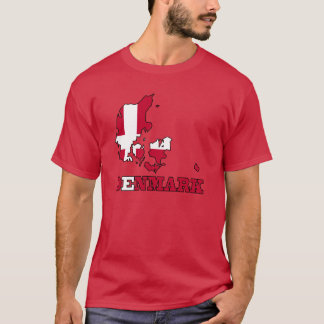 Denmark Flag in Map T-Shirt