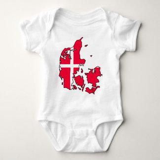 denmark flag map baby bodysuit