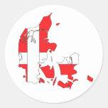 Denmark flag map classic round sticker