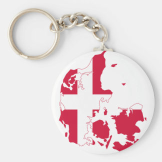 Denmark Flag map DK Keychain