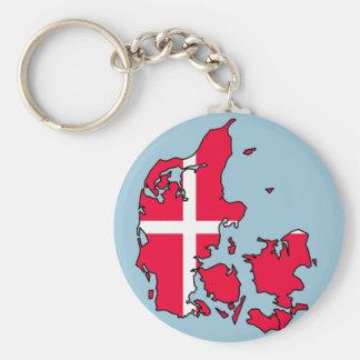 denmark flag map keychain