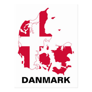 Denmark Flag Map Postcard