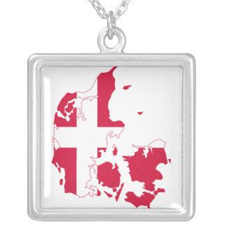 Denmark Flag Map Square Pendant Necklace