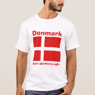 Denmark Flag + Map + Text T-Shirt