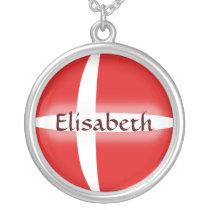 Denmark Flag   Name Necklace