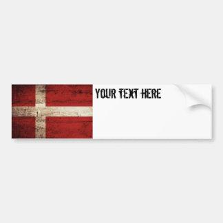 Denmark Flag on Old Wood Grain Bumper Sticker
