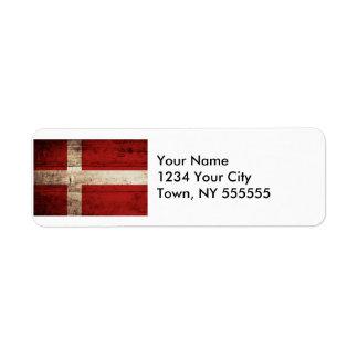Denmark Flag on Old Wood Grain Label