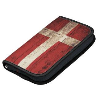 Denmark Flag on Old Wood Grain Folio Planner