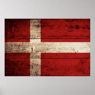 Denmark Flag on Old Wood Grain Poster