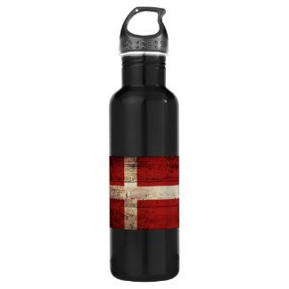 Denmark Flag on Old Wood Grain Stainless Steel Water Bottle