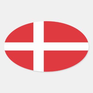 Denmark Flag Oval Sticker