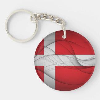 Denmark Flag Single-Sided Round Acrylic Keychain