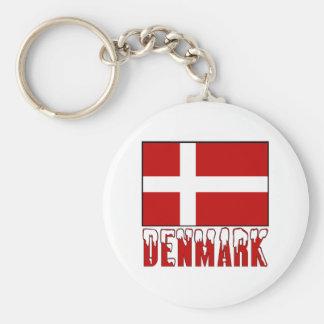 Denmark Flag Snow Keychain