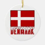 Denmark Flag Snow Double-Sided Ceramic Round Christmas Ornament