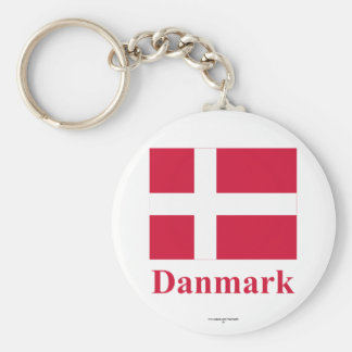 Denmark Flag with Name in Danish Keychain