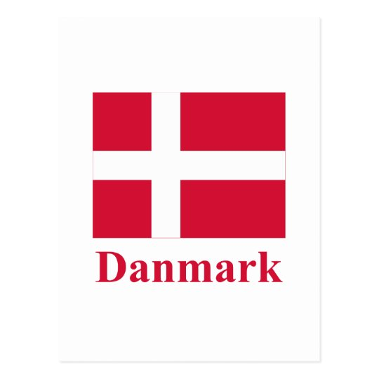 Denmark Flag with Name in Danish Postcard