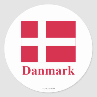 Denmark Flag with Name in Danish Classic Round Sticker