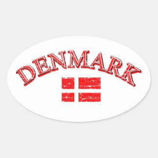 Denmark football design oval sticker