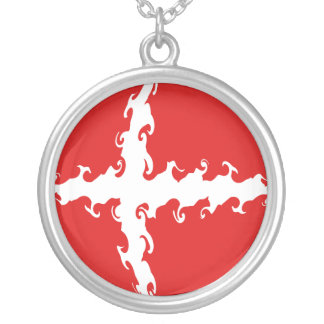 Denmark Gnarly Flag Silver Plated Necklace