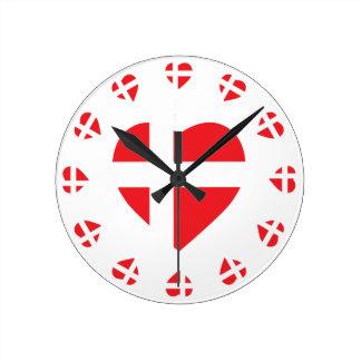 DENMARK HEART SHAPE FLAG ROUND CLOCK