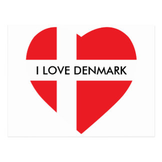 DENMARK HEART SHAPED FLAG POSTCARD